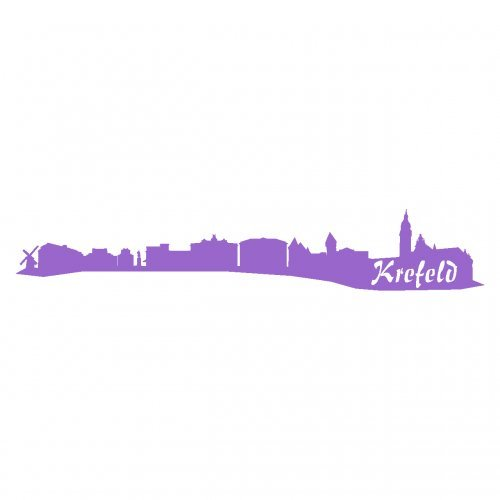 Skyline4u Krefeld Aufkleber Krefeld Skyline viele Farben in 8 Größen und 25 Farben (100x17,5cm Lavendel) - Lavendel Samt