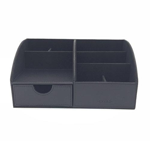Exerz EX8077 Premium Großes Kunstleder Tisch-Organizer/Ablagesystem/Stiftehalter/Schreibtischset/Multifunktionsorganizer - Schwarz