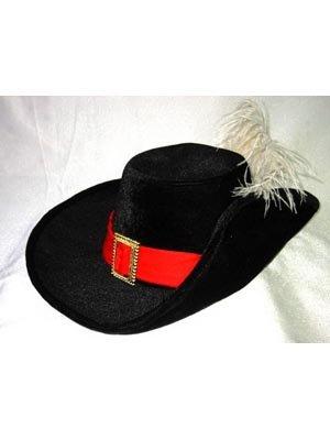 Generique - Hut Musketier schwarz Samt mit Feder Erwachsene (Mit Feder Hut)