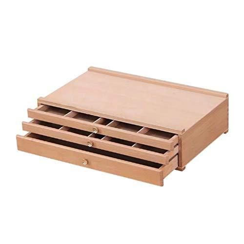 3 Schubladen Holz Künstler Supply Aufbewahrungsbox - Pastelle, Bleistifte, Stifte, Marker, Pinsel Professionelle A-Frame Staffelei für Künstler ( Farbe : Burlywood , Größe : Einheitsgröße ) -