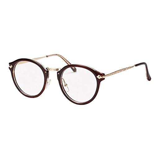 NALATI Brillen Nerdbrille Dekogläser Klassisches Rund Rahmen Golden Muster Bein (one size, Braun)