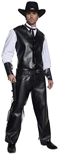 Smiffys Herren Revolverheld Kostüm, Weste mit Hemdattrape, Chaps und Fliege, Western, Größe: M, - Revolverheld Cowboy Kostüm Für Erwachsene