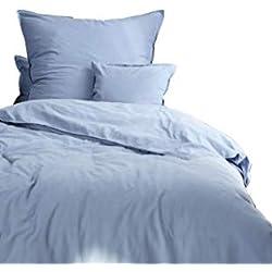 Aminata-Home – Bettwäsche á 155x220 cm Baumwolle + Reißverschluss unifarben Stonewashed Blau Hellblau für Frauen & Männer Bettbezug einfarbig Pastellfarben Türkis Bettwäscheset Ganzjahr Standardgröße