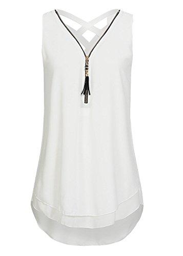 Damen Shirt Chiffon Bluse Langarmshirt mit Reißverschluss Vorne V-Ausschnitt Tops T-Shirt (M, Short-Weiß) -