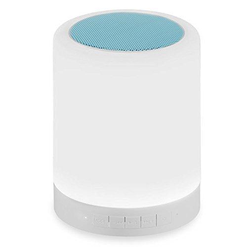 SUPEREX® LED Farbwechsel Lampe mit Bluetooth Lautsprecher dimmbare Touch Nachtlicht Tischdeko Stimmungslicht Atmosphäre Licht Leselampe Schlaf-Licht Tischleuchte Schreibtischlampe Tischlampe Touch Lighting Bluetooth Speaker (Blau)