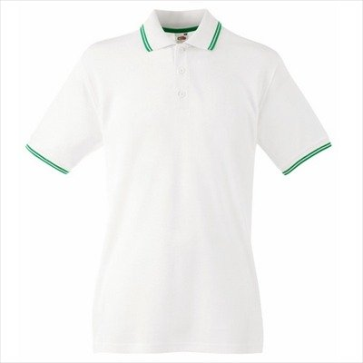 Fruit of the Loom - Kontrast Poloshirt 'Tipped Polo' White/Kelly Green