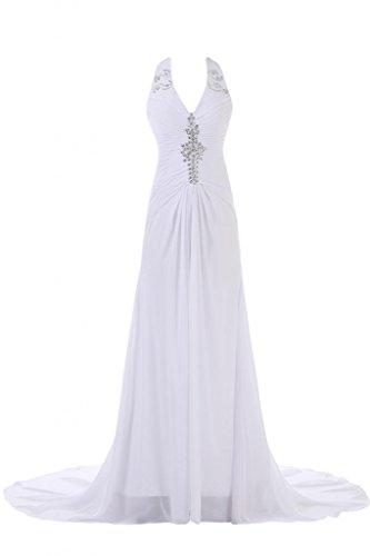 Sunvary 2014 bianco una linea Halter Neck formale abiti da sposa, abiti da donna, elegante, con strass Bianco