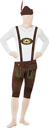 Smiffys, Herren Second Skin Bayer Kostüm, Ganzkörperanzug, Bauchtasche und Hut, Größe: L, 43924