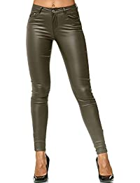 030ca73084ae42 ArizonaShopping Damen Treggings Hose Leder Optik Kunstleder Hose Skinny  Stretch Röhre D2476