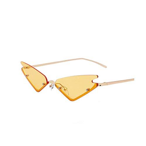 Katzenaugen-Sonnenbrille für Damen, modisch, kleine Cateye Sonnenbrille, Retro-Vintage-Sonnenbrille Gr. Einheitsgröße, C6 Yellow ()