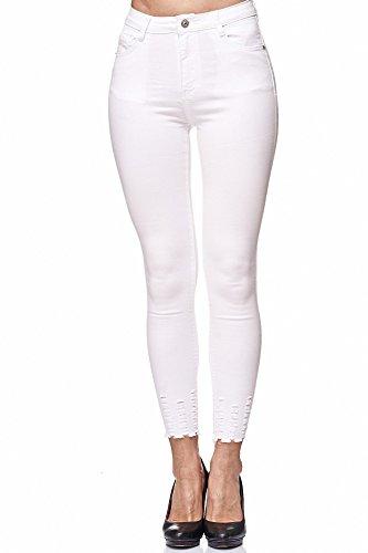 Elara Damen Jeans Hose stretch| High Waist | Skinny Röhrenjeans| Slim Fit | Hochschnitt |Chunkyrayan Weiß