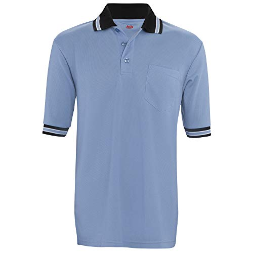 ADAMS USA Baseball-Shirt, kurzärmlig, Größe für Brustschutz, Adams Umpire Shirt BBSB Short Sleeve Wicking Poly 2XL CB, Columbia, blau, XX-Large
