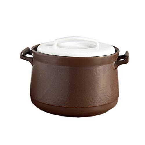 Cacerola Cocotte con tapa, olla de cerámica con doble asa y tapa, olla antiadherente para horno y vitrocerámica-2-5.4L...