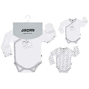 Jacky Unisex Baby Wickelbody Langarm, 2er Pack, 100% Lyocell, Kratzfäustlinge, Weiß, Teddy/Sterne, 150017