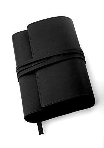 MILANO Lederbuchhülle L schwarz: Variable Buchhülle aus echtem Rindsleder für Bücher bis 24,5 cm Höhe.