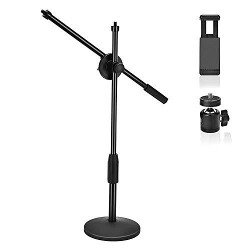UTEBIT Copy Stand Höhenverstellbar 23-48cm Boden-Stativ 360°Drehen Querlatte Tabletop Ständer Hoher Standfestigkeit mit Kugelgelenk Stativkopf und Handy Clip für Handy,Kamera,Video,Makrofotographie (Clip-video-kamera)