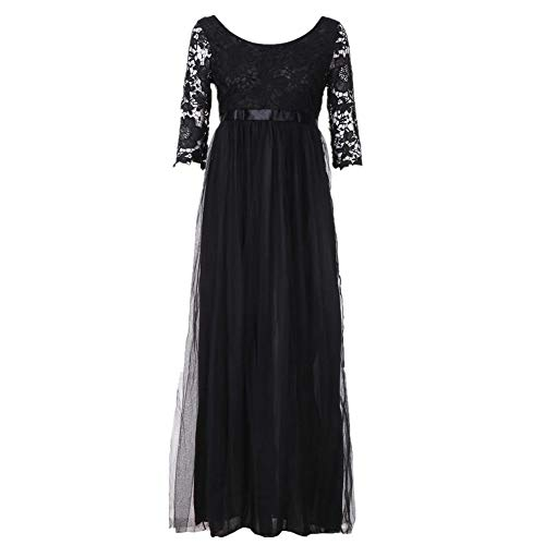 QingJiu Frauen Chiffon Brautjungfer Lange Maxi Abendkleid Abendkleid Spitze langes Kleid bk/XL
