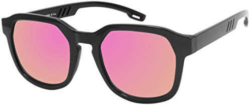 La Optica B.L.M. UV 400 CAT 3 Unisex Damen Frauen Sonnenbrille Eckig Fashion - Einzelpack Glänzend Schwarz (Gläser: Pink/Rosa verspiegelt)
