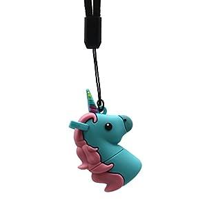 DBigness Cute Blue Einhorn Pferd PVC USB 2.0 Sticks Lustige Geschenk Cartoon USB Memory Stick Datenspeicher Pendrive (32 GB)