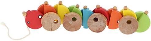 Homyl Jouet en Bois Chenille Traction Jouet de Premier Age   Coloré | Premiers Clients