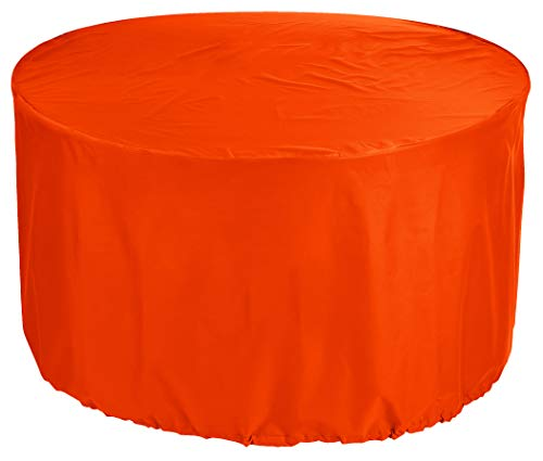 KaufPirat Premium Abdeckplane Rund Ø 205 x 90 cm Orange Gartenmöbel Gartentisch Abdeckung Schutzhülle Abdeckhaube Outdoor Round Patio Table Cover -