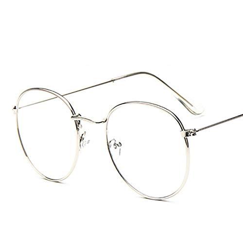 KCJKXC Vintage Legierung Große Runde Brillen Frames Frauen Mann Marke Retro Optische Klare Linse Gold Schwarz Brillengestell