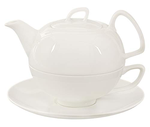 Buchensee Porzellan Tea for one / Tea4one / Teeservice/Teeset 4-teilig Schwanensee 550ml, Fine Bone China, Original Aricola®