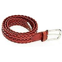TINERS Cinturón Tejido De Cuero Genuino para Hombres Y Mujeres Tela De Estiramiento Salvaje Salvaje Tejido Elástico Pin Hebilla De Cinturón,90Cm