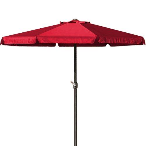 Deuba Parasol Rouge - Ø 330cm - Protection Soleil - avec manivelle - Jardin - Terrasse
