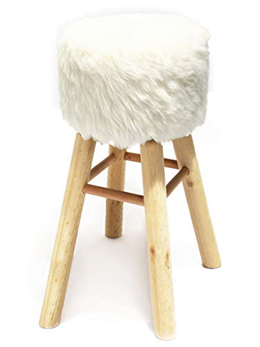 Bada Bing XL Hocker Fell Fellimitat Weiß Ca. Ø 33 cm x H. 70 cm Barhocker Sitzhocker Stuhl 79