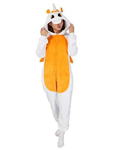 Carnevale halloween pigiama o costume di pigiama cosplay party onepiece intero animali unicorno regalo di compleanno per adulti adolescenziale ragazzi (l(168-178cm), arancione)
