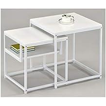 Meubletmoi Mesa Gigogne Cuadrado Metal Blanco – Fin De Sofá – Bandeja organizadora – diseño Moderno