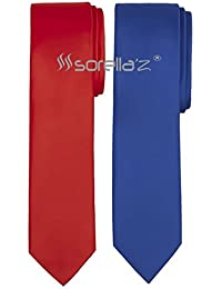 Sorella'z Red & Royal Blue Necktie Combo for Men's