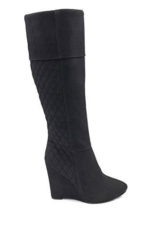 CHIC NANA . Chaussure femme botte compensée en effet daim matelassé, dotée d'un bout pointu.