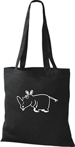 Shirtstown Stoffbeutel Tiere Nashorn Schwarz