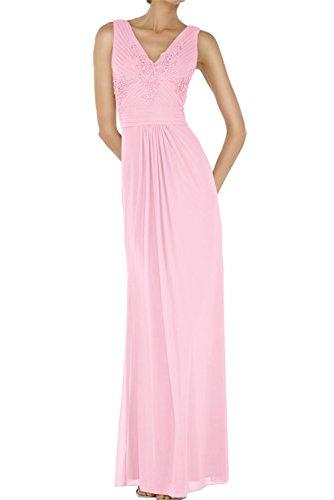 Ivydressing Sexy Neu V-Neck Chiffon Applikation Abendmode Bodenlang Abendkleider Paillette Ballkleid Rosa