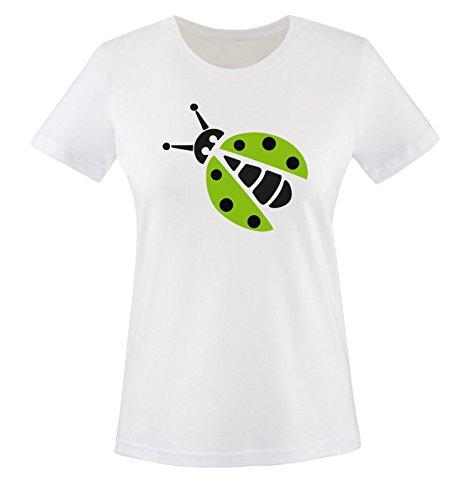 Comedy Shirts - MARIENKÄFER KOSTÜM - Damen T-Shirt - Weiss / Schwarz-Grün Gr. XL (Teenager Für Marienkäfer-kostüm)