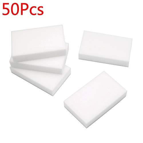 50pcs limpieza magia esponja borrador melamina limpiador espuma multifunción, color blanco