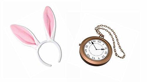 Welttag Des Buches Weißen Kaninchen Ohren & Riesige Uhren Maskenkostüm (Kostüm Weiße Kaninchen Das)