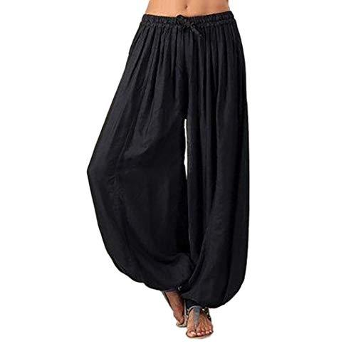 Frau übergröße einfarbig beiläufig lose Haremshosen Yoga-Hose Frauen Hosen-Damen Leinenhose, leger geschnitten-yogahose Strecken Sporthose Freizeithose Casual Streetwear outdoorhos(Schwarz,S)
