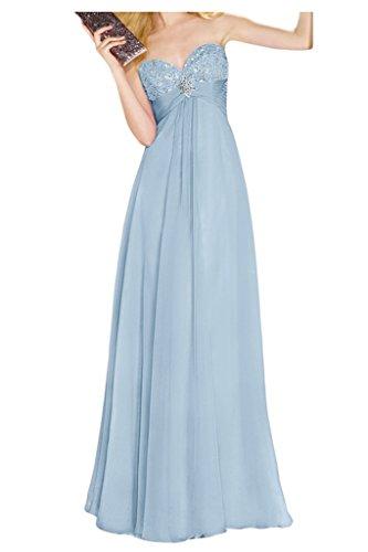 Ivydressing Damen Steine Herz-Ausschnitt A-Linie Promkleid Chiffon Lang Festkleid Abendkleider Himmelblau