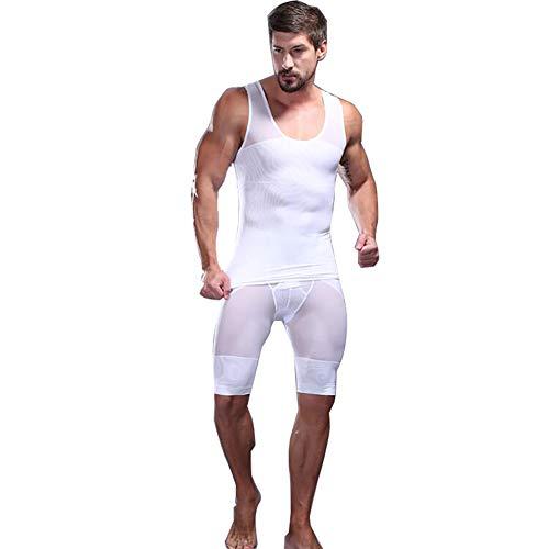 Herren Kompressionsshorts mit hoher Taille Bauchformer Strumpfhosen Hosen Unterwäsche Pouch Shorts Anzug,White,XL - Lee An Der Taille Hose
