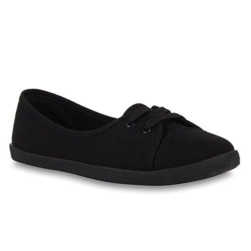 lerinas Sportliche Stoff Slipper Flats Sneakers Slip-ons viele Farben Schuhe 49744 Schwarz 38 Flandell ()