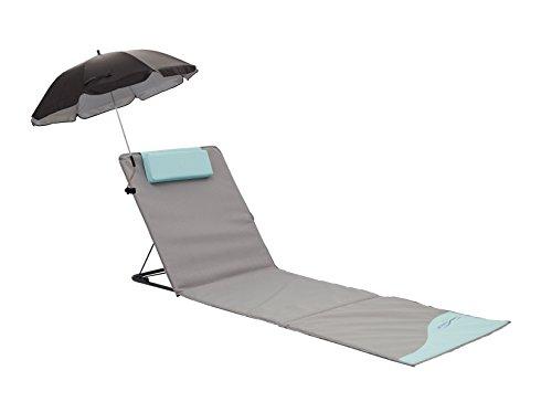 Meerweh Strandmatte XXL mit Lehne & Schirm Strandliege Isomatte Picknickdecke ca. 200x60cm Sonnenliege, grau/blau, 200 x 60 x 68 cm