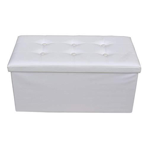 Rebecca mobili puff contenitore poggiapiedi moderno, seduta sedia bianca, arredamento casa salotto, living - misure 38 x 76 x p 38 cm (hxlxp) - art. re4620