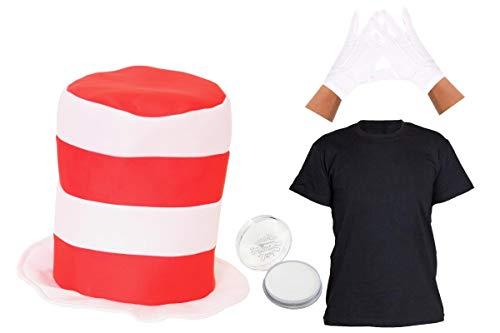 Top Fancy Dress Kostüm Cat - Kinder Crazy Cat Hat Set Fancy Dress Kostüm Zubehör Rot und Weiß Stripe Hat + Weiß Facepaint + weiße Handschuhe + 100% BAUMWOLLE schwarz T-Shirt Buch Charakter