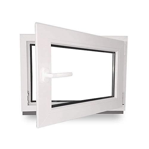 Kellerfenster - Kunststoff - Fenster - innen weiß/außen weiß - BxH: 90 x 40 cm - 900 x 400 mm - DIN Rechts - 2 fach Verglasung - 60 mm Profil