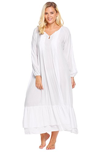 Swiftt Damen Nachthemd große Größen Schlafkleid Langarm viktorianischer Stil Nachtkleid