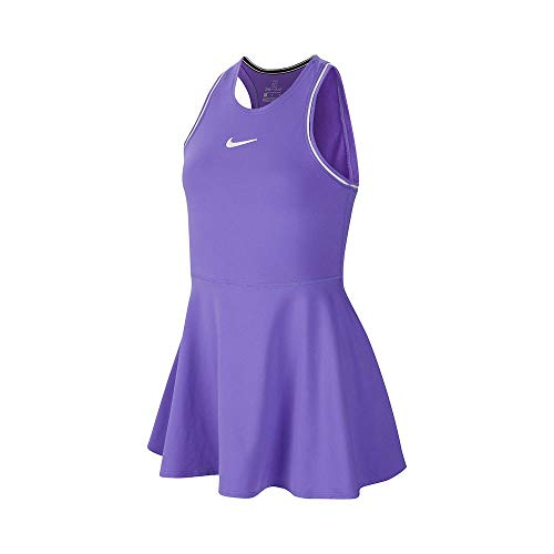 Nike Mädchen G Nkct Dry Dress Kleid, Psychic Purple/White/White, M