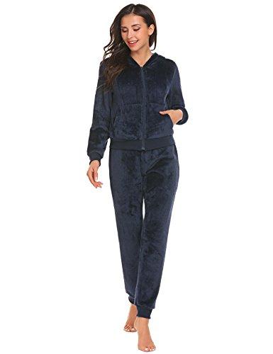 Warm Pyjama Fleece Schlafanzüge Weich Nachtwäsche mit Kapuze und Tasche (Kapuzen Schlafanzug)